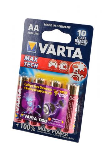 VARTA MAX TECH/LONGLIFE MAX POWER 4706 LR6 BL4, элемент питания, батарейка