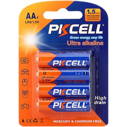 PKCELL LR6-4B тип – AA 4 шт в блистере, элемент питания алкалиновый