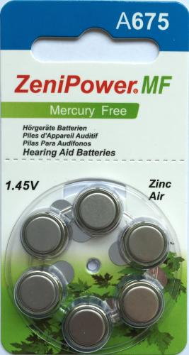 PR44 Zenipower, элемент питания, батарейка размера 675, напряжение 1,45 В, воздушно-цинковый, 6 шт. в блистере на картон-карте