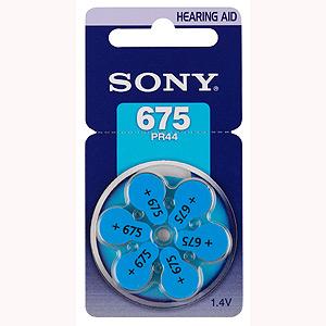 PR44 Sony, элемент питания, батарейка размера 675, напряжение 1,45 В, воздушно-цинковый, 6 шт. в блистере на картон-карте