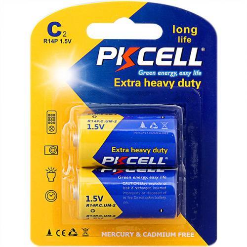 PKCELL R14P-2B тип – C(R14) 2 шт в блистере, элемент питания солевой