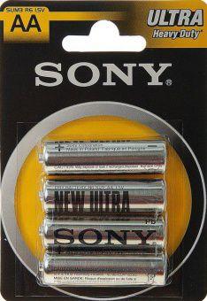 R6 SONY NEW ULTRA, элемент питания, батарейка размера AA, напряжение 1,5 В, солевой, 4 шт. в блистере на картон-карте