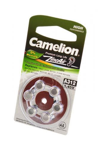 Camelion Zinc-Air A312-BP6(0% Hg) BL6, элемент питания, батарейка