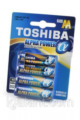 Батарейка, элемент питания LR6 TOSHIBA ALPHA POWER 4/card