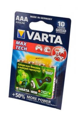 VARTA MAX TECH/LONGLIFE MAX POWER 4703 LR03 BL4, элемент питания, батарейка
