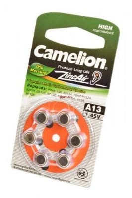 Camelion Zinc-Air A13-BP6 (0%Hg) BL6, элемент питания, батарейка