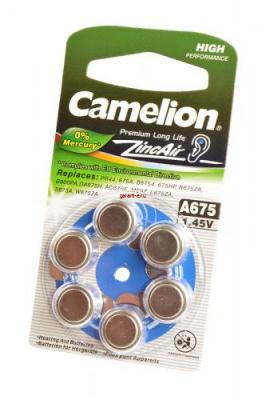 Camelion Zinc-Air A675-BP6(0% Hg) BL6, элемент питания, батарейка