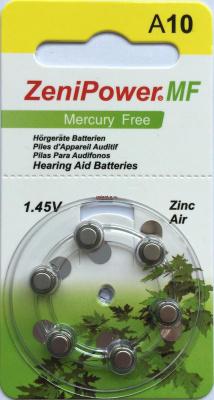 PR70 Zenipower, элемент питания, батарейка размера 10, напряжение 1,45 В, воздушно-цинковый, 6 шт. в блистере на картон-карте