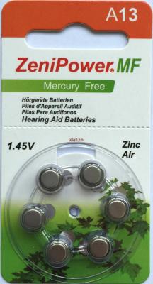PR48 Zenipower, элемент питания, батарейка размера 13, напряжение 1,45 В, воздушно-цинковый, 6 шт. в блистере на картон-карте
