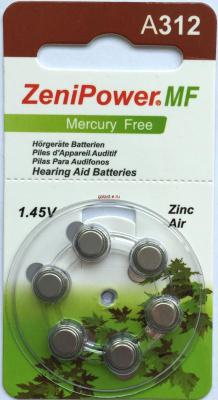PR41 Zenipower, элемент питания, батарейка размера 312, напряжение 1,45 В, воздушно-цинковый, 6 шт. в блистере на картон-карте