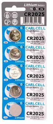CR2025 Carl Cell, элемент питания, батарейка размера 2025, напряжение 3 В, литиевый, 5 шт. в блистере на картон-карте