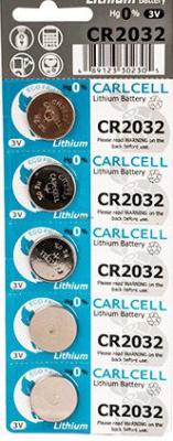 CR2032 Carl Cell, элемент питания, батарейка размера 2032, напряжение 3 В, литиевый, 5 шт. в блистере на картон-карте