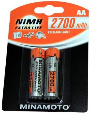 2700mAh аккумулятор AA Minamoto Ni-Mh 2/card