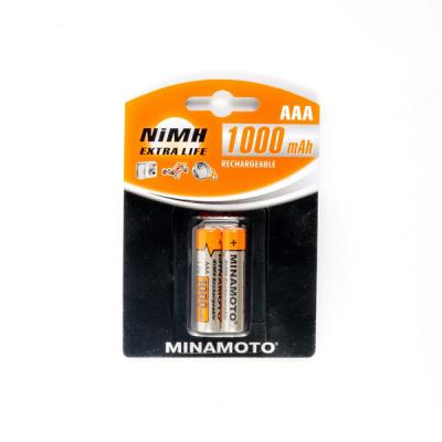 1000mAh аккумулятор AAA MINAMOTO Ni-Mh 2/Card