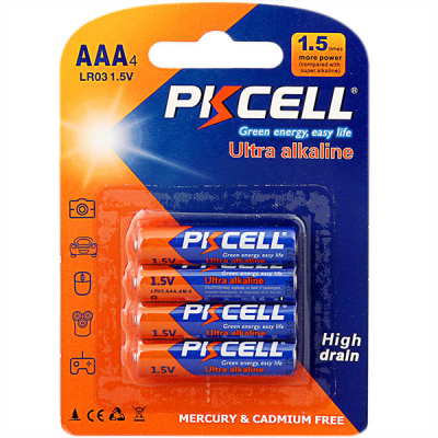 PKCELL LR03-4B тип – AAА 4 шт в блистере, элемент питания алкалиновый