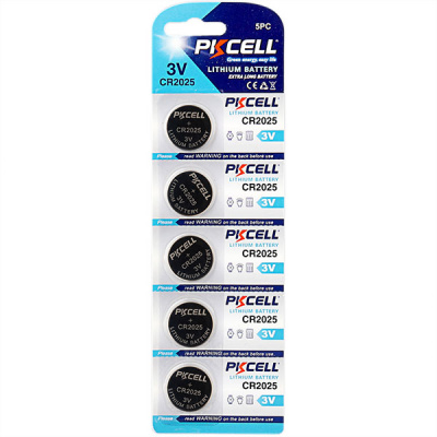 Литиевый PKCELL CR2025-5B тип – CR2025 5 шт в блистере, элемент питания литиевый