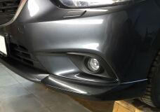 Накладка на передний бампер Mazda 6 2012-  (Клыки + Перекладина)