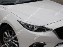 Реснички на фары для Mazda 3 2013- (для моделей с адаптивными фарами)
