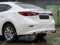 Диффузор заднего бампера для Mazda 3 var №1(ровный) (2013, 2014, 2015)