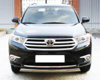 Защита переднего бампера D75X42 (дуга) для Toyota Highlander 2010-2013