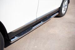 Пороги труба D76 с накладками (вариант 3) для Toyota Highlander 2010-2013