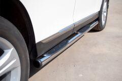 Пороги труба D76 с накладками (вариант 2) для Toyota Highlander 2010-2013