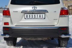 Защита заднего бампера уголки D76 для Toyota Highlander 2010-2013