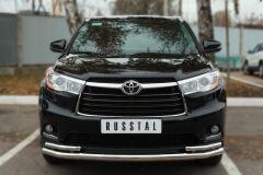 Защита переднего бампера D63 (секции) D42х2 (уголки) для Toyota Highlander 2014-