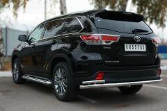 Защита заднего бампера D63 (секции) D42 (уголки) для Toyota Highlander 2014-