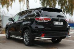 Защита заднего бампера уголки D63(секции) D42 (секции) для Toyota Highlander 2014-