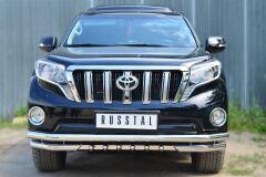 Защита переднего бампера D63 (секции) D63 (уголки)+D42 (зубы) для Toyota LC Prado 150 2014-