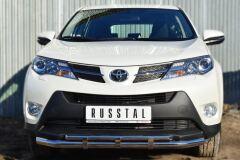 Защита переднего бампера D63 (секции) D42 (дуга) с декор элементами для Toyota Rav4 2013-2015