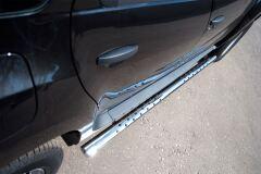 Пороги труба D75х42 овал с проступью для Renault Duster 4x2 2011-