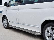 Пороги труба D42 правый С листом (Лист нерж, проф. нерж)(Вариант3) для Volkswagen Multivan Caravella Transporter T6 2016 (короткая база)