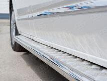 Пороги труба D42 правый С листом (Лист алюм, проф. нерж)(Вариант1) для Volkswagen Multivan Caravella Transporter T6 2016 (короткая база)