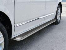 Пороги труба D42 левый С листом (Лист нерж, проф. нерж)(Вариант3) для Volkswagen Multivan Caravella Transporter T6 2016 (короткая база)