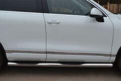 Пороги труба D76 с накладками (вариант 2) для Volkswagen Touareg 2010-2013