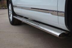 Защита порогов 120х60 с проступью для Volkswagen Touareg 2010-2013