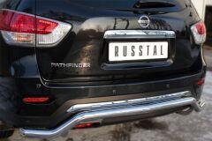 Защита заднего бампера D63 (волна) для Nissan Pathfinder 2014-