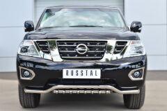 Защита переднего бампера D63 (волна)+D42 (зубы) для Nissan Patrol 2014-