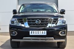 Защита переднего бампера D75х42 (дуга) 75х42 (дуга) для Nissan Patrol 2014-