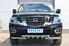 Защита переднего бампера D76 (дуга) D76х2 (дуга)+клыки для Nissan Patrol 2014-