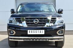 Защита переднего бампера D63 (секции) D63 (уголки)+D42 (зубы) для Nissan Patrol 2014-