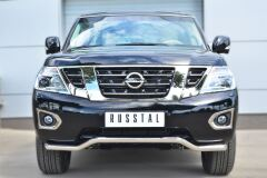 Защита переднего бампера D63 (волна) для Nissan Patrol 2014-