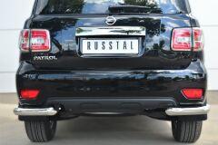 Защита заднего бампера уголки D76(секции) для Nissan Patrol 2014-
