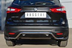 Защита заднего бампера D42 (волна) для Nissan Qashqai 2014-