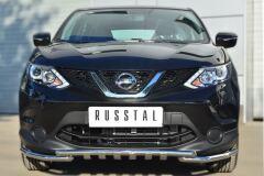 Защита переднего бампера D42 (секции) D42 (уголки)+клыки для Nissan Qashqai 2014-