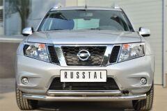 Защита переднего бампера D63 (секции) D42 (дуга) декор-паз для Nissan Terrano 2014-