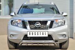 Защита переднего бампера D42 (волна) под машину+D42 (зубы) для Nissan Terrano 2014-