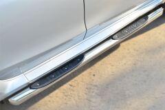Пороги труба D76 с накладкой (вариант 1) для Nissan Terrano 2014-